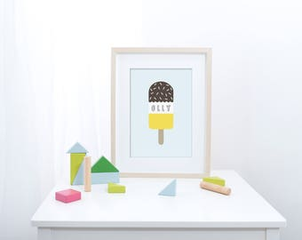 Popsicle - Pastel Blue Personalised Name/Colour - Nursery Print - Children's Wall Art - Baby Nursery Decor - Ice Lolly - Kids Room