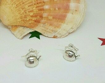 Teapot earring silver color