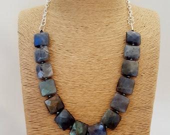 Square Labradorite and Silver necklace, Blue flash Labradorite, Made in Australia