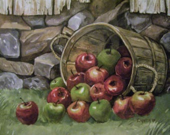 Bushel ofApples, 16x20 Original Watercolor Painting,One of a Kind,Not a Print