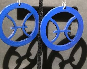 Blue Pisces Symbol Earrings