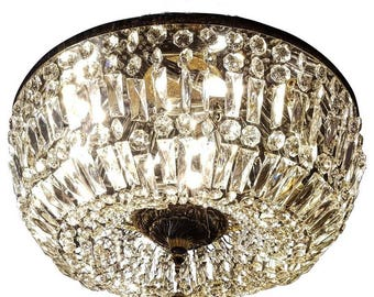 Spectacular Flush Mount Crystal and Bronze Basket Chandeliers, Three Available