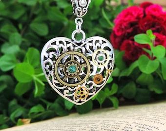 Silver Heart Necklace antique steampunk ~ Illikya ~ gears Christmas gift idea