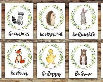 Woodland Animal Nursery Decor | Fox Deer Raccoon Owl Bunny Rabbit Bear | Woodland Creatures Be Brave Be Kind Be Curious Be Happy | Wall Art