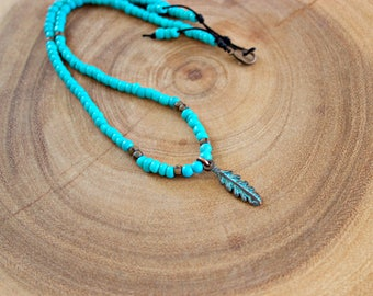 Feather Charm Beaded Necklace
