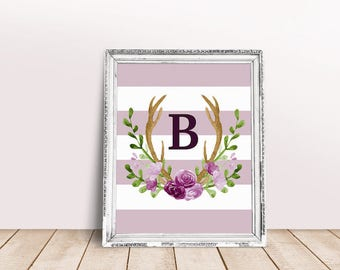 Baby Initial Decor B | Antler Wreath, Baby Wreath Letter, Rustic Letter, Name Letter Poster, Floral Letter, Bianca, Bethany, Rustic Letter