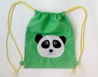 Drawstring backpack/kids backpacks, boys fashion, panda