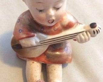 Vintage Goldcastle Girl Sitting Playing a Mandolin & Singing Figurine Japan