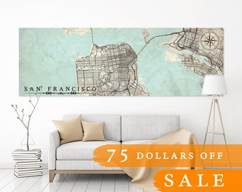 SALE 25% Save 75 dollars! San Francisco Sf Canvas Print CA California map Vintage map Ca Wall Art Oversized poster map discount coupon code