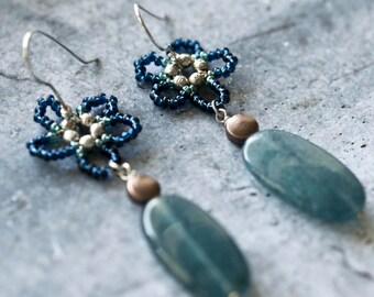 Blue Daisy Earrings  - Dangle Earrings - Seed Beads - Copper - Sterling Silver Beads - Semi precious Gemstone - Agate -