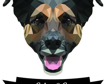 Custom Vector Low Poly Dog Portrait - A portion of the proceeds are donated!