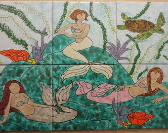 "Mermaid Grotto 001 Back Splash Mural Hand Painted Kiln Fired Decorative Ceramic Wall Art Tile 12"" X 18"""