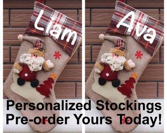 Personalized Christmas Stocking, Custom Stockings With Name, Christmas Gifts Present Santa Sack Santa Stocking Sacks, Holiday Gift