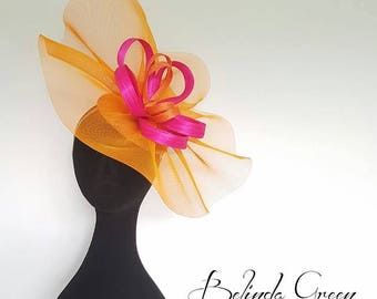 Orange and Hot Pink Headwear