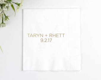First Names - Personalized Wedding Napkins - Bridal Shower - Rehearsal Dinner - Engagement Party Napkins