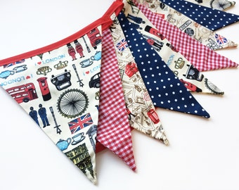 London Home Decor, British Bunting, British Party Decor, English Decor, London Map, Red White and Blue, Fabric Bunting, Nessa Foye