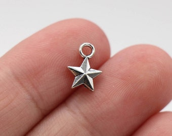 10 Pcs Small Star Charms Antique Silver Tone 3D 11x5mm - YD1059