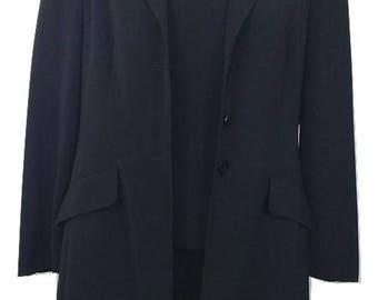 Vintage Three Piece Skirt Suit UK Size 12 Black Retro Jacket 1990s Womens Top Skirt & Jacket Gil Bret Wedding Office Races Funeral