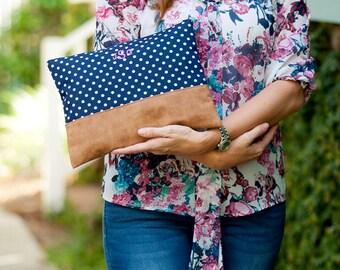 Monogrammed Bag, Monogrammed Pouch, Monogrammed Makeup Bag, Monogrammed Cosmetic Bag, Makeup Pouch, Charlie Dot  Zip Pouch, Bridesmaids Gift
