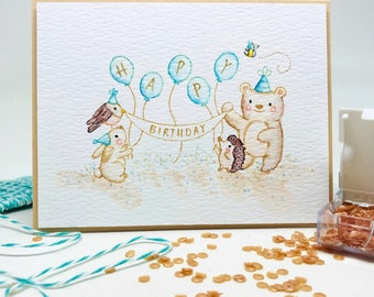 Handmade Birthday Card - Watercolor Painted