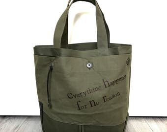 Military green water repellent canvas tote bag