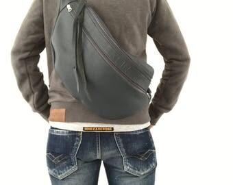 Grey leather crossbody bag, shoulder bag, unisex