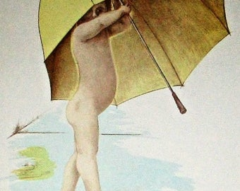 Vintage Naked Baby Under Umbrella Lithograph Signed Jon Humorous Print Limited Edition Nude Child Watercolor Illustration