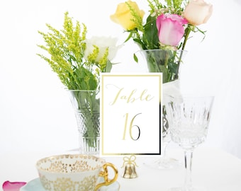Gold Foil Elegant Border Table Numbers Handmade Wedding Style #0104