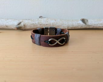 Leather Infinity Bracelet with T-Clasp
