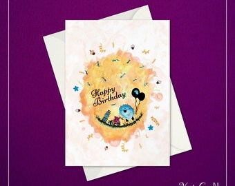 Birthday Card | Thingies – Celebration Yellow | 5″ x 7″