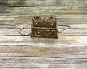 50s 60s Vintage Jeweled Tortoise Shell Purse / Vintage Hand Bag Purse Clutch