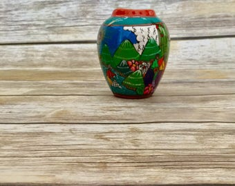Mountain Mexican Village Scene Vase //  Hand Made Pottery // Decorative Vase