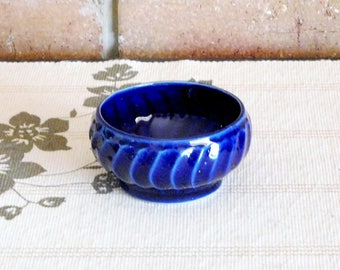 1950s small cobalt blue porcelain pins, rings, jam, relish or cream bowl, unmarked