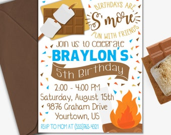 S'mores Birthday Invitation | S'mores Invitation | Camping Birthday Invitation | S'mores | Campfire | Digital Invitation | Design 17075