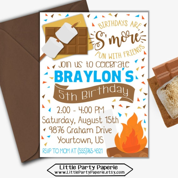 s mores birthday invitation s mores invitation camping birthday