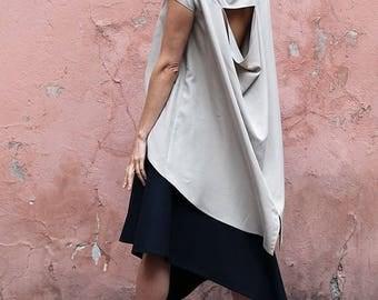 Beige summer blouse / Beige asymmetric blouse / Beige asymmetric shirt / Beige shirt / Cut out shirt / Handmade shirt