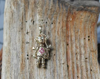 9 carat gold etsy vintage hallmarked 9 carat gold double sided pink tourmaline and cz rag doll movable joints pendant mozeypictures Images