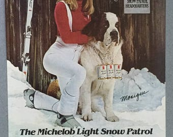 1980 Lot of 2 Michelob Light Print Ads featuring Monique St. Pierre and Suds - Skiing - St. Bernard