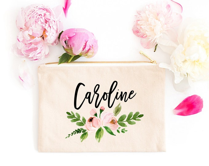 Personalized Makeup Bag, Personalized Makeup Bag, Bridesmaid Makeup Bag, Bridesmaid Gift, Floral Makeup Bag, Personalized Bridesmaid Bag
