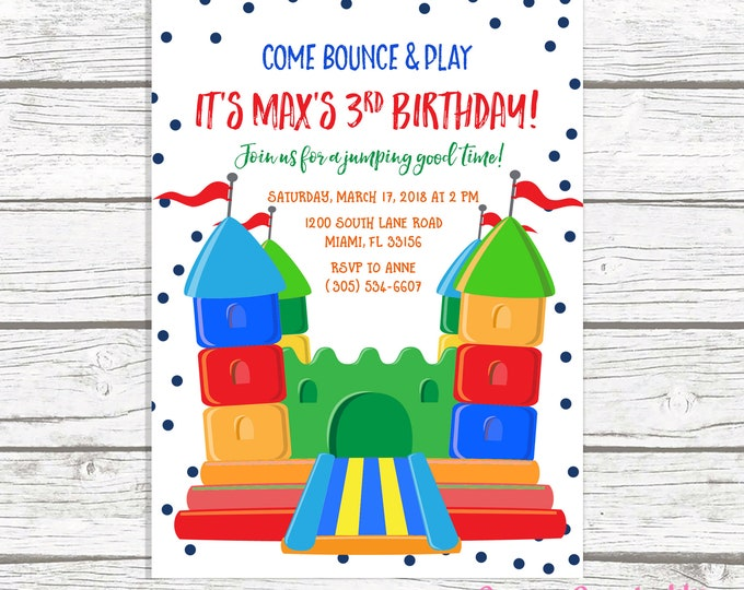 Bounce House Birthday Invitation, Jump Party Invitation, Bounce House Invitation, Jump Invite, Bounce House Invite, Jump Invitation