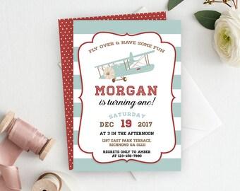 Airplane Invitation, Airplane Party, Airplane Birthday, Airplane, Printable, Vintage Airplane, Birthday Invitation, Printable Invitation.