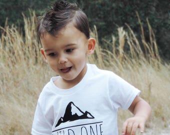 Wild One Tee, Little Boy Clothes, Woodland Tee, Wild One Mountain Shirt, Kids Boho Woodland Tee, Fun Tees for Kids, First Birthday Tee