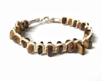 Rustic Bracelet - Wood Bead Bracelet, Men's Hemp Bracelet, Gift For Him, Gifts Under 15, Men's Surfer Bracelet, Men's Jewelry, Men's Gift