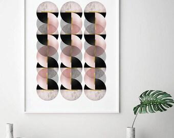 Geometric Art Print, Printable Art, Downloadable Prints, Geometric, Scandinavian, Minimalist, Print, Posters, Wall Art, Art Deco, Retro, Art