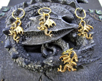 Gold Dragon Hair Rings, Hair Rings with Charms, Hair Jewellery, Hair Rings, Dragon Hair rings, Dragon Hair Accessory