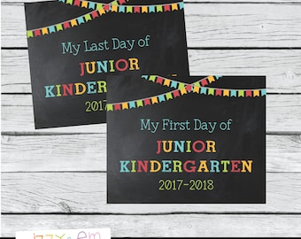 First Day of Junior Kingergarten Sign - First Day of School Sign - Back to School Sign - Printable Photo Prop - First & Last Day of School
