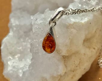 Amber and Sterling Silver Teardrop with Sterling Silver Necklace