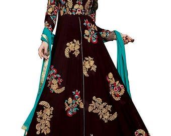 Indian Pakistani Designer Brown Colored Pure Georgette Silk Salwar suit Anarkali Salwar Suit Salwar Kameej Formal Suit Party WearSuit