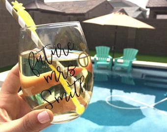 Personalized Future Mrs. Wine Glass    engagement gift for her