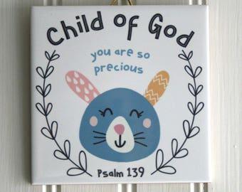 Child Of God Bunny Tile Art